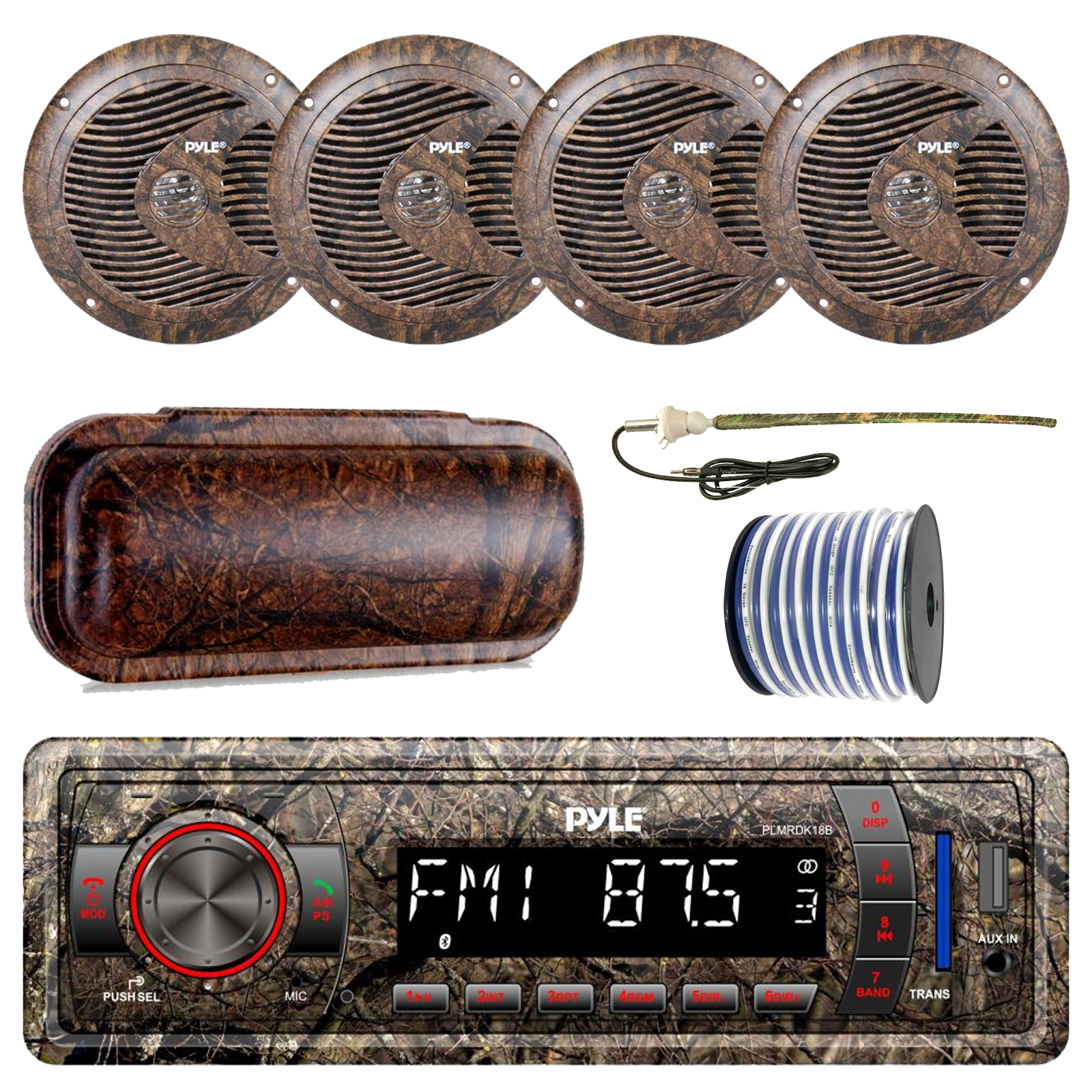 Pyle Marine Single-DIN Bluetooth MP3 USB AUX Camo AM/FM Radio, 4x Pyle 6.5'' Waterproof Camo Speakers, Stereo Shield Cover, Enrock Camouflage Boat Antenna, 18-G 50 Ft Wire