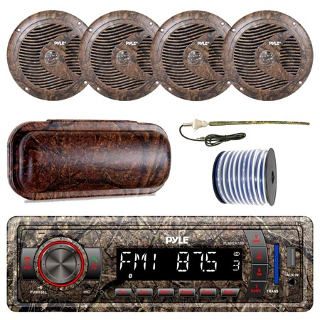 Pyle Marine Single-DIN Bluetooth MP3 USB AUX Camo AM/FM Radio, 4x Pyle 6.5'' Waterproof Camo Speakers, Stereo Shield Cover, Enrock Camouflage Boat Antenna, 18-G 50 Ft Wire Digital Antenna Marine Radio