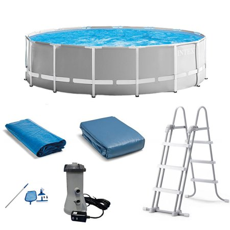 - Intex Prism Above Ground Swimming Pool Set w/ Ladder, Cover and Maintenance Kit