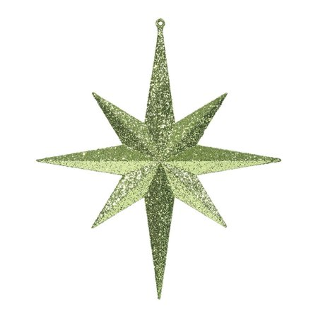 "Vickerman 417942 - 12"" Lime Glitter Bethlehem Star Christmas Tree Ornament (2 pack) (M167414)"