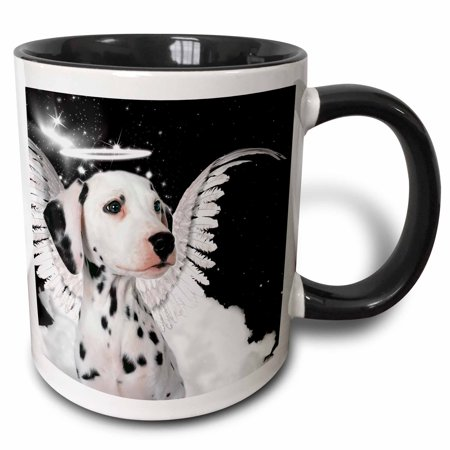 3dRose Dalmatian Angel Dog with clouds, a cute Halo and Angel Wings - Two Tone Black Mug, 11-ounce](Halos And Wings)