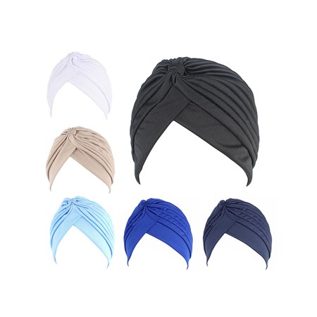 Turban Sets, Coxeer Solid Color Twisted Pleated Stretchable Turban Head Cover for Women, -