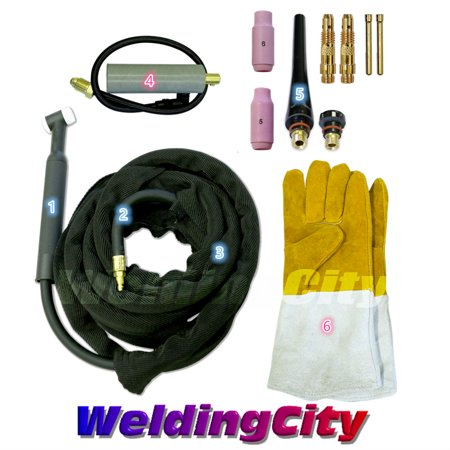 Tig Torch Package (WeldingCity TIG Welding Torch 26 (200Amp) 25-ft Air-Cooled Complete Package for Miller)