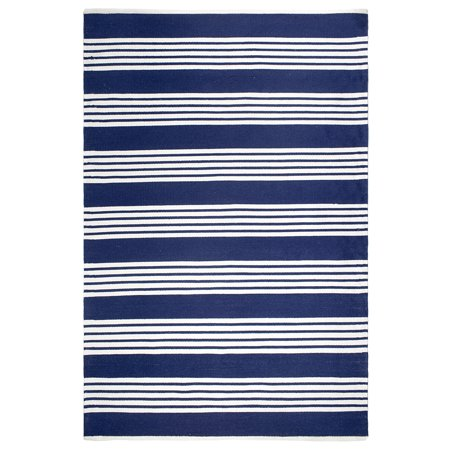 Blue And White Striped Rug (Fab Habitat  Indoor Outdoor Floor Mat Rug - Handwoven  Made from Recycled Plastic Bottles - Mariona Stripe Blue & White - 3' x 5' )