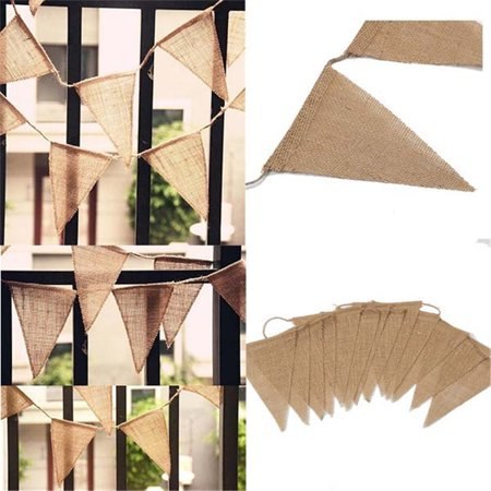 Hanging Linen Burlap Bunting Banner 13/48 Pcs Jute Pennant Flags Christmas Tree Decoration Birthday Wedding Party Events Ornament](Burlap Birthday Banner)