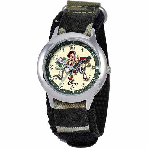 Disney Toy Story Buzz Lightyear, Woody, & Jessie Boys' Stainless Steel Watch, Camo Strap