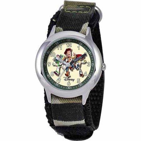 Halloween The Inside Story Watch (Toy Story Buzz Lightyear, Woody, & Jessie Boys' Stainless Steel Watch, Camo)