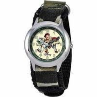 Toy Story Buzz Lightyear, Woody, & Jessie Boys' Stainless Steel Watch, Camo Strap