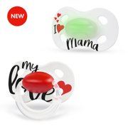 Medela Baby Day and Night Pacifiers, My Love with Glow in the Dark Pacifier, Baby Pacifier 0-6 Months, 2 Pack