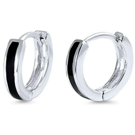 Simulated Onyx Bar Huggie Hoop Earrings Rhodium Plated Sterling Silver