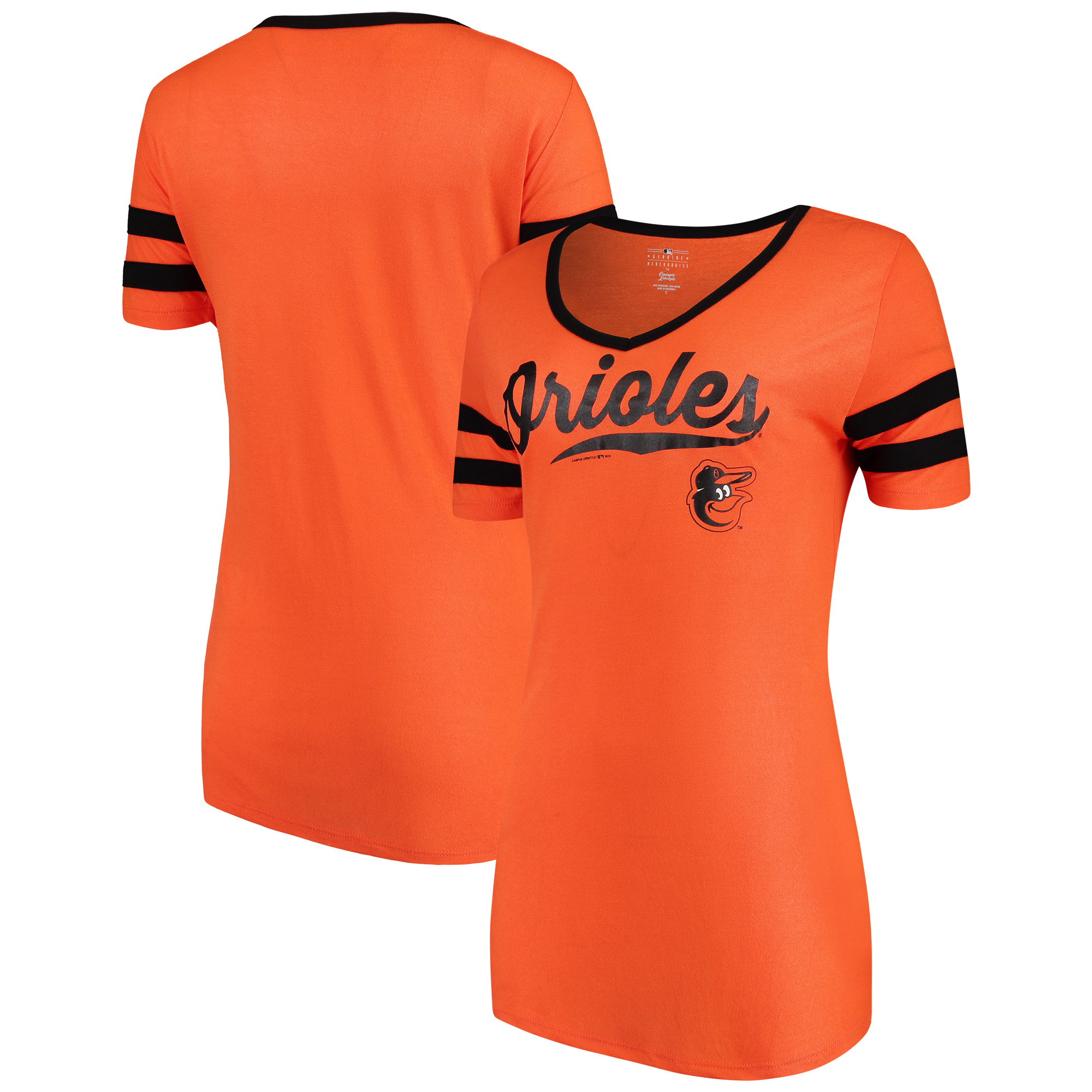 Women's New Era Orange Baltimore Orioles Jersey V-Neck T-Shirt