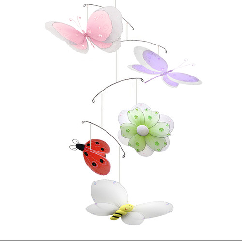 Bugs-n-Blooms Multi-Layered Butterfly Dragonfly Ladybug Flower Bee Nylon Hanging Mobile by Bugs-n-Blooms
