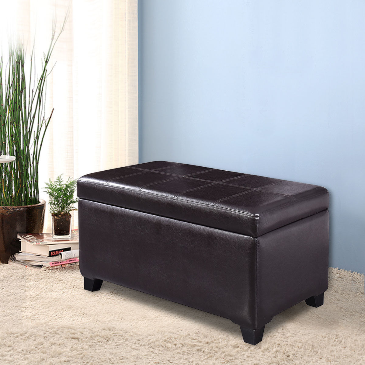 Costway PU Leather Storage Bench Lift Top Organizer Ottoman Furniture Seat Footstools by Costway