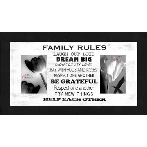 "Family Rules White V 20"" x 10"" Collage Picture Frame"