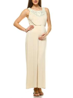 Women's Maternity Crochet Maxi Dress