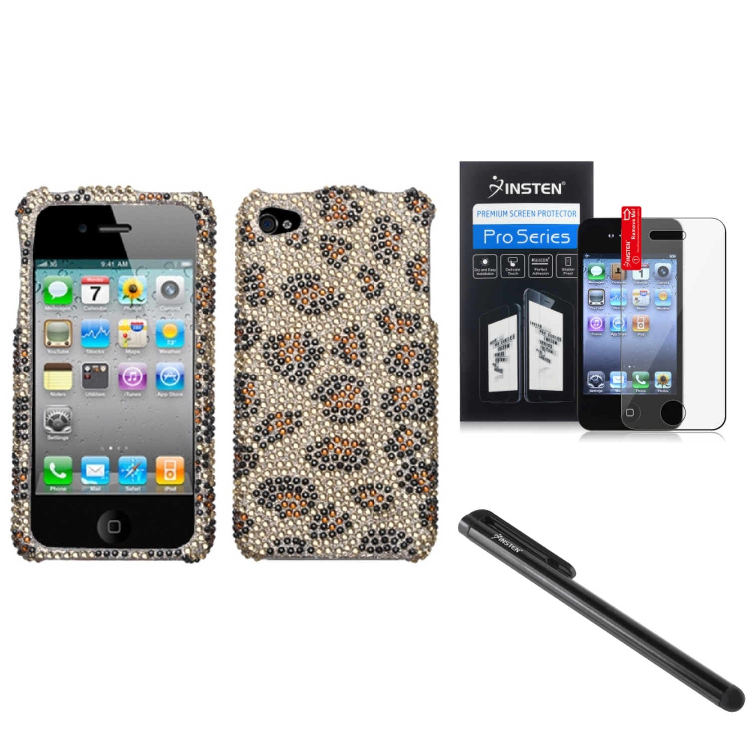 Insten Leopard Skin/Camel Diamond Case Bling Hard Cover For iPhone 4 4s Film Pen