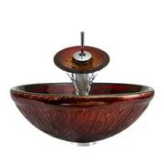 P816 Brushed Nickel Bathroom Ensemble (Vessel Sink, Waterfall Faucet, Pop-Up Drain, & Sink Rin