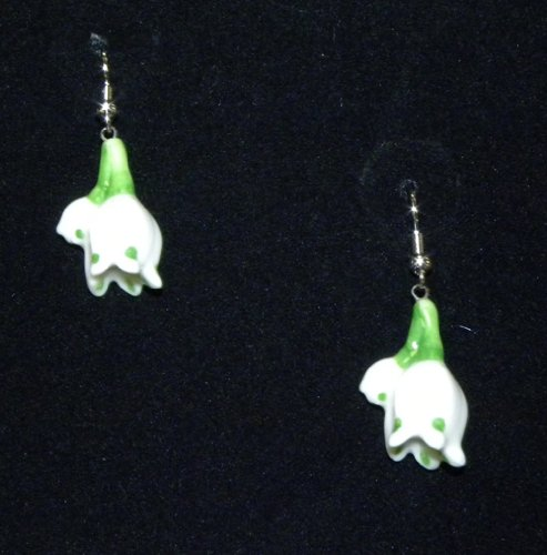 Franz Porcelain - Rhodium Earrings - Summer Snowflake