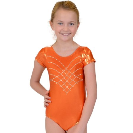 Girl's RHINESTONE Princess Mystique Leotards - Small (6) / Mystique Orange - Princess Peach Leotard