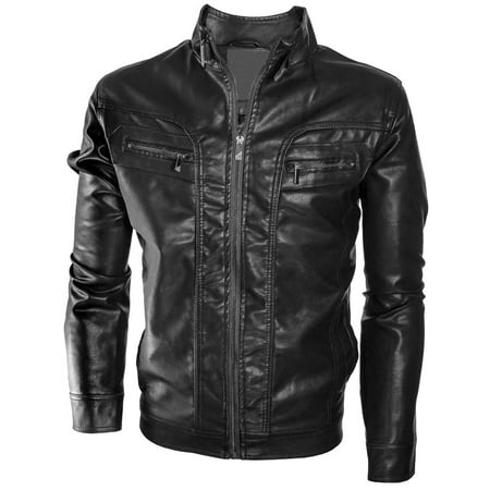 Alta Men's Motorcycle Faux Leather Jacket Quilted Lining Zip Up