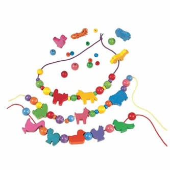 HABA Animal Threading Beads -  40 Piece Lacing Activity Set (Made in Germany)