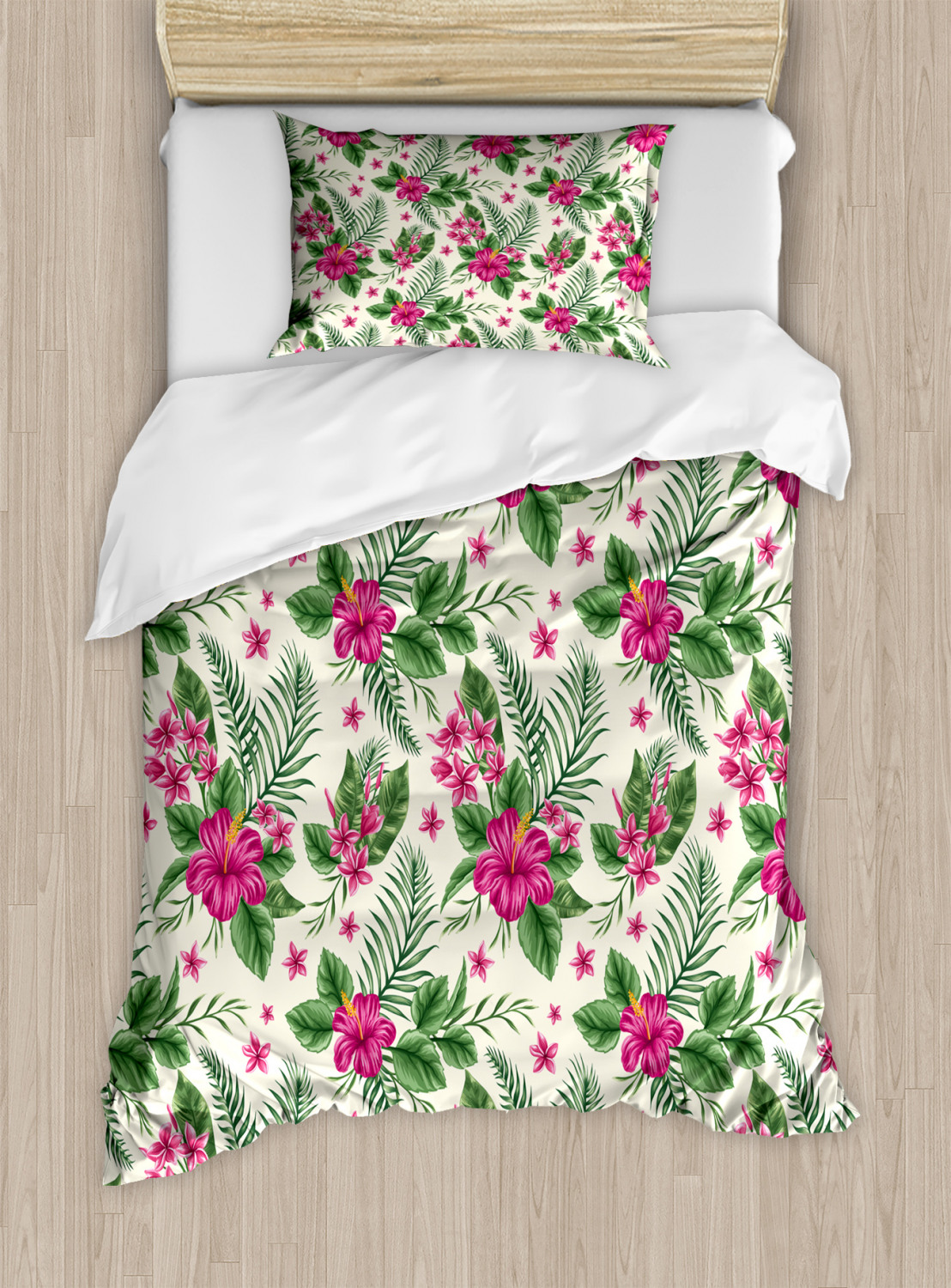 4 Pcs, King Beauty Decor Watercolor Duvet Cover Set Plumeria and Hibiscus Flora Tropical Island Nature Aloha Hawaii Jungle Microfiber Bedding Sets with Zipper and Corner Ties Magenta Cream Green