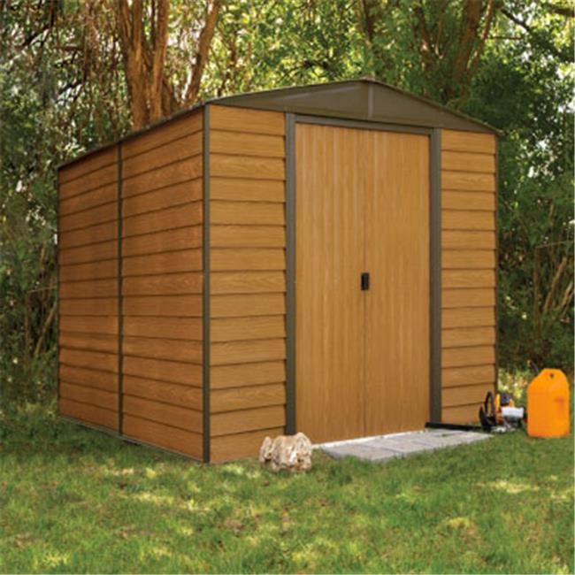 10 x 12 ft. Arrow Woodridge Electro Galvanized Steel Storage Shed, Coffee & Woodgrain