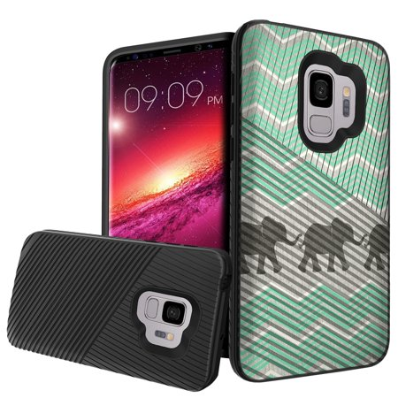 Premium Samsung Galaxy S9 Phone Case with Embossed Grip Feature [Slim Case for Galaxy S9, for Galaxy S9] Galaxy S9 Impact Resistant Hybrid Support Layers - Teal Elephant Chevron
