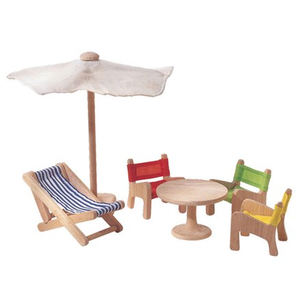 Recycled Wood 6 Piece Dollhouse Patio Furniture Playset By Plantoys