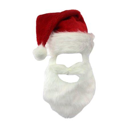 Santa Beard And Hat (Santa Claus Plush Hat & White Beard Christmas Holiday Red Costume)