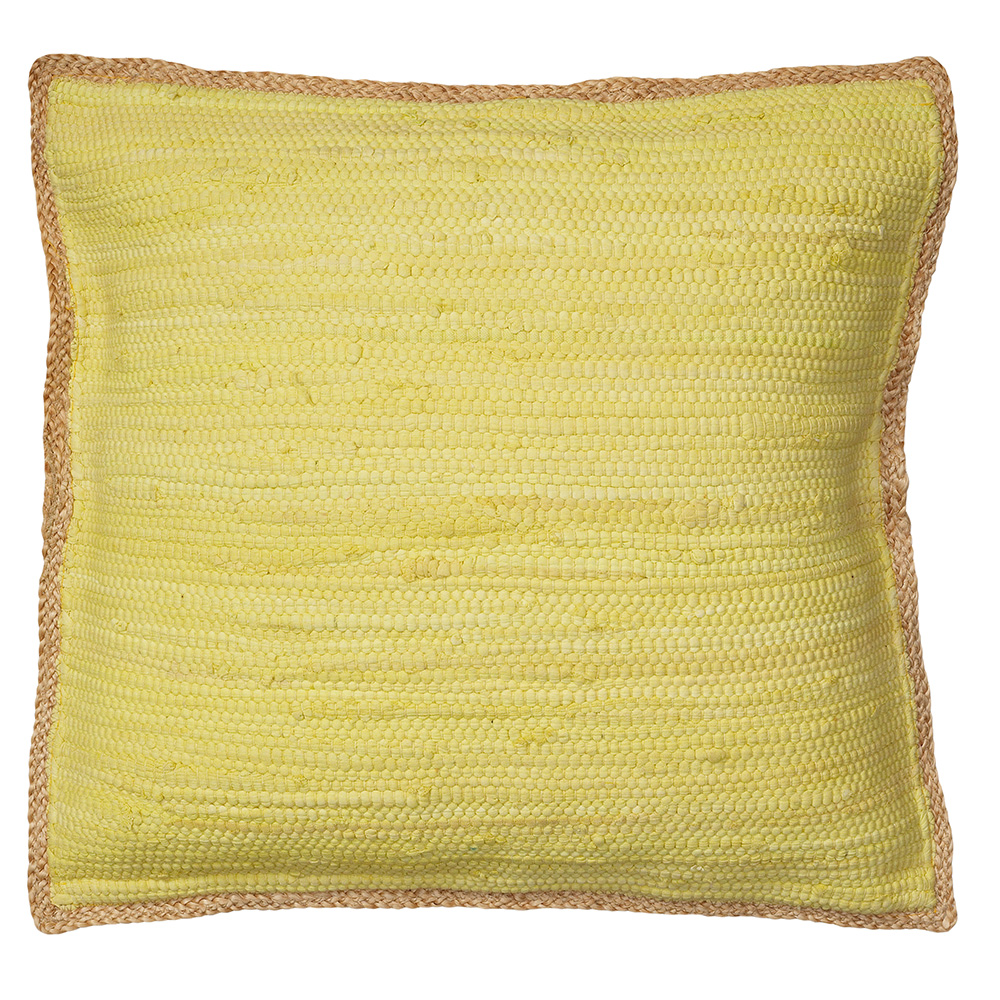 """LR Home Solid Light Blue with Jute Border 20"""" x 20"""" Indoor Square Woven Riley Wild Yonder Throw Pillow"""