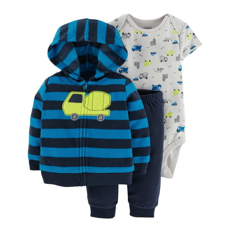 Child of Mine by Carter's Baby Boy Microfleece Cardigan, Bodysuit, and Pants, 3pc Set