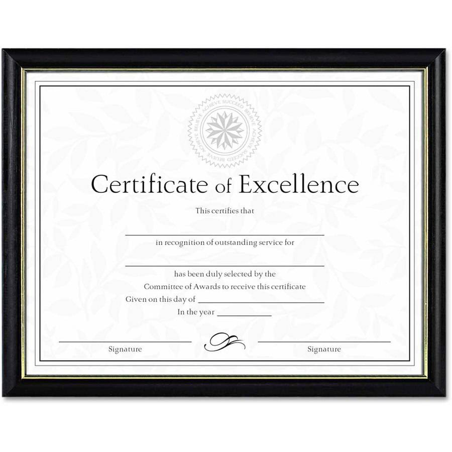 "DAX Two-Tone Document/Diploma Frame, Wood, 8-1/2"" x 11"", Black with Gold Leaf Trim"