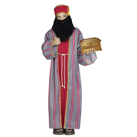 3 Wise Men Wiseman  RED Christmas Nativity Child Costume Large 10-14 Red