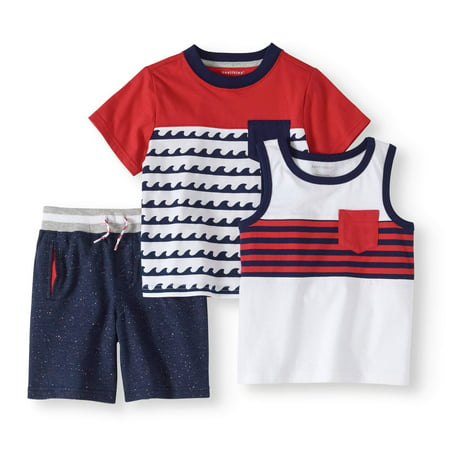 Toddler Boy Tank Top, Colorblock T-shirt & Knit Shorts, 3pc Outfit Set (Boys Superman Outfit)