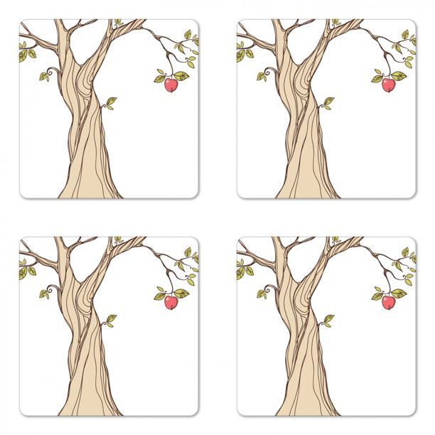 Cartoon Coaster Set Of 4 Old Tree Drawing With Apples And Leaves Fruit Garden Art On Plain Backdrop Square Hardboard Gloss Coasters Standard Size Beige Green Coral By Ambesonne Walmart Com How to draw a fall tree easy. walmart