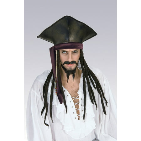 Jack Sparrow Pirate Costume (Captain Jack Sparrow Hat With Dreadlocks Pirates of the Caribbean Costume)
