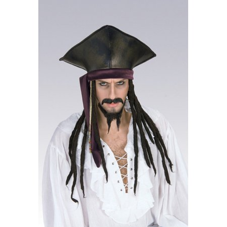 Captain Jack Sparrow Hat With Dreadlocks Pirates of the Caribbean Costume