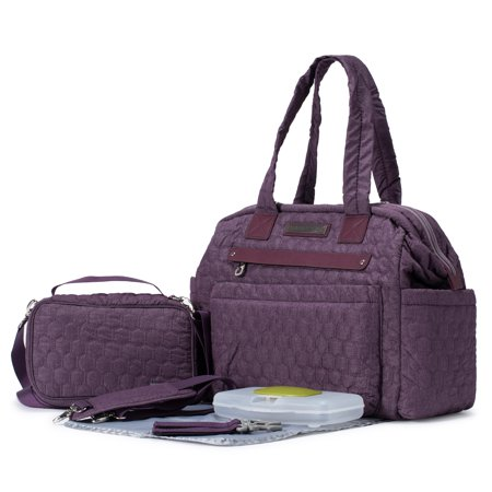 d5cf478f13d0 SoHo Collections, Stylish Designer Tote Diaper Bag with Stroller Straps,  Multiple Pockets, Cushioned Diaper Pad, Baby Wipes Case, Small Purse, 6  Piece ...