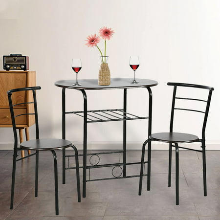 Dining Kitchen Table Dining Set,3 Piece Metal Frame Bar Breakfast Dining Room Table Set Table And Chair With 2