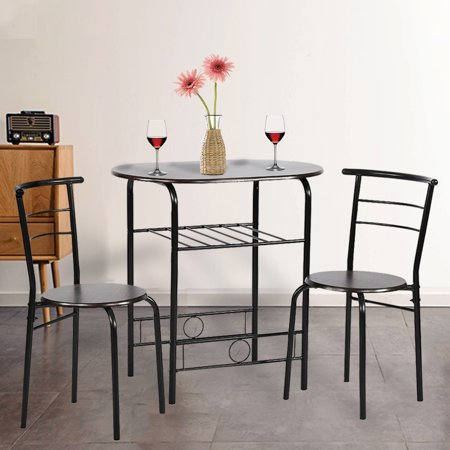 Dining Kitchen Table Dining Set,3 Piece Metal Frame Bar Breakfast Dining Room Table Set Table And Chair With 2 Chairs ()