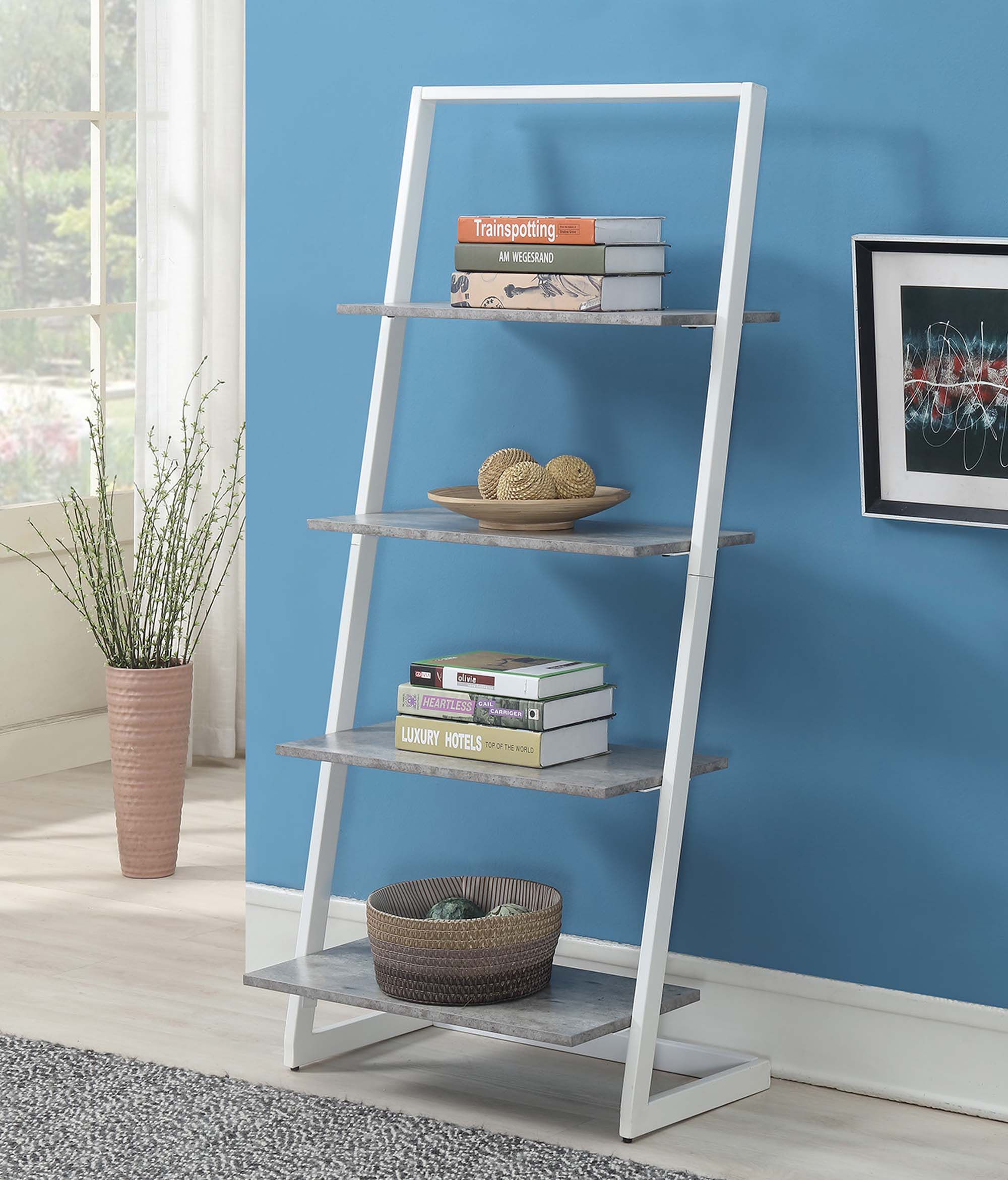 Convenience Concepts Graystone 4 Tier Ladder Bookcase Shelf