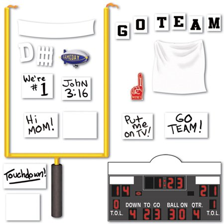 Club Pack Of 264 Footall Goal Post  Scoreboard  And Party Sign Photo Prop Decorations 58