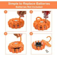 Gymax 6 Pack LED Road Flares Emergency Roadside Disc Safety Light Flashing W/ Bag