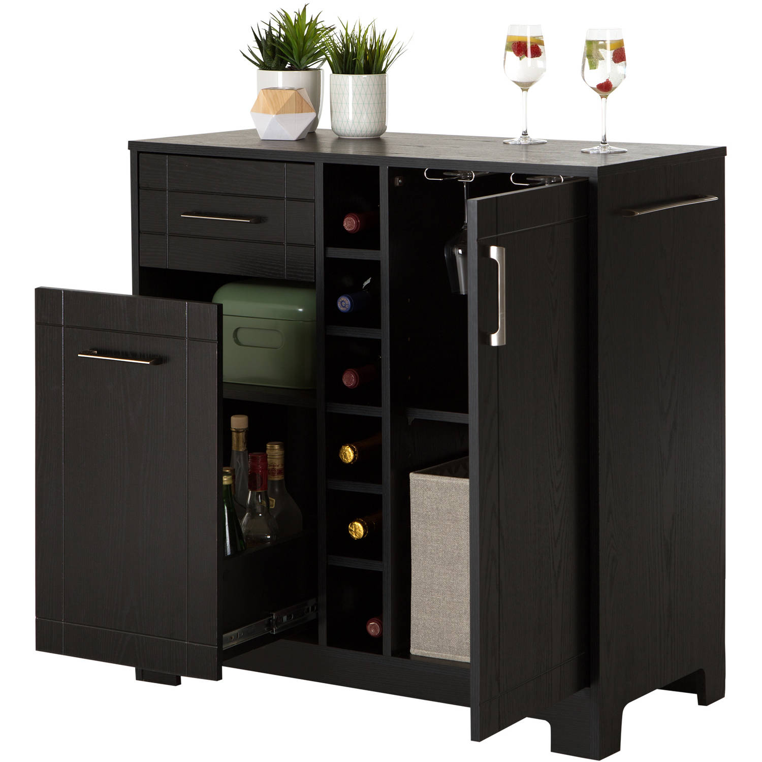 Home Mini Bar Liquor Cabinet Server Gl Storage Wine Rack Furniture Black Oak