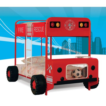 Acme Firetruck Twin Over Twin Metal Bunk Bed Red Black
