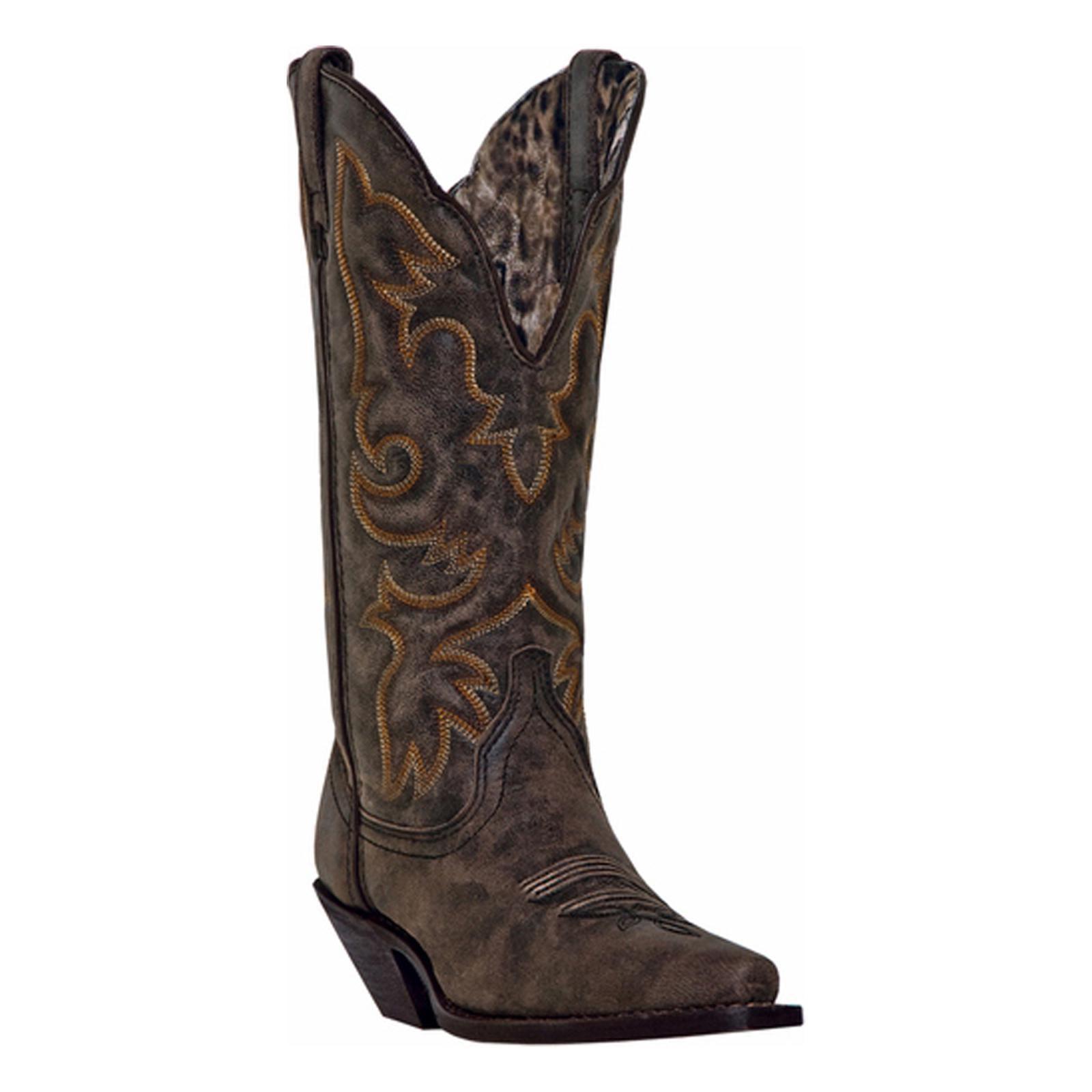 "Laredo Western Boots Womens 12"" Stitched Cowboy Access Black Tan 51079 by Laredo"