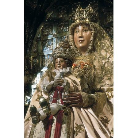 Spain Andalusia Sevilla Cathedral Virgen De Los Reyes Patron Saint Of Sevilla Gothic Art Sculpture  AisaEverett Collection Poster Print