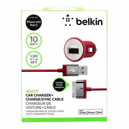 Belkin 2.1 Amp Mixit Car Charger and USB Cable for Apple iPhone 4 4S Red (Iphone 4s Cable Usb)