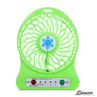 "Spencer Rechargeable USB Desk Mini Fan Air Cooler LED Light Fan with 18650 Battery ""White"""